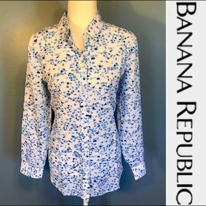 EUC-BANANA REPUBLIC floral print Dillon shirt
